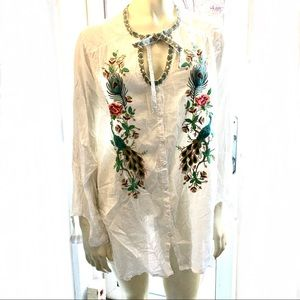 Johnny Was Pheasant Embroidered White Blouse L